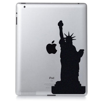 Statue of Liberty Art -  Fabric Macbook Decal - New York City Laptop Decal -  Black Wall Decor