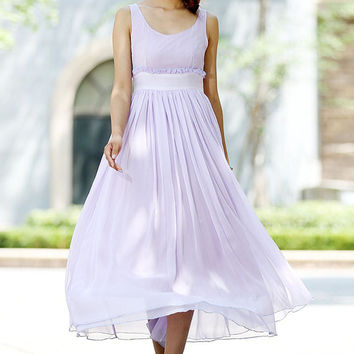 woman Purple dress charming maxi chiffon dress custom made party dress (1027)