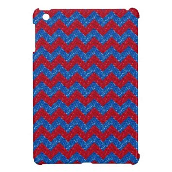 Glittered Chevron Red-Blue iPad Mini Case