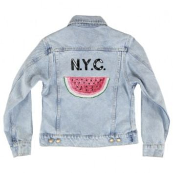 nyc, new york city, watermelon, denim, jacket, cute, summer, fruit, n.y.c., custom, clothing, casual, women's