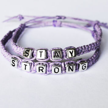 Stay Strong purple hemp bracelet set, domestic violence awareness, recovery bracelet, macrame jewelry, light purple, lavender