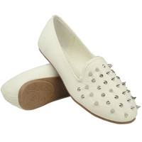 Womens Slip On Loafers Flat Comfort Shoes With Spiked Front White Size 5.5-10