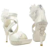 Womens Dress Platform Cross Strap High Heel Sandals With Tulle Flower Size 5.5-10 White