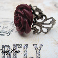 Burgandy Filigree Rose Rings | Luulla