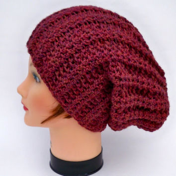 Crochet Baggy Beanie - Unisex Slouchy Hat In Spiced Wine - Wool Headwear - Winter Fashion - Knit Accessories - Warm Head Covering