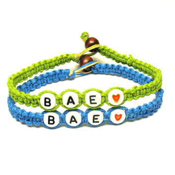 Before Anyone Else, BAE, Couples or Friendship Bracelet in Lime Green and Bright Blue, Made to Order