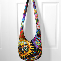 Hobo Bag, Patchwork, Crazy Quilt, Sling Bag, Sublime T-Shirt, Colorful, Hippie Purse, Crossbody Bag