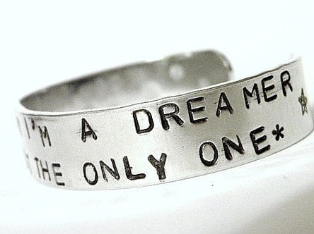 Stamped Bracelet Dreamer Imagine John Lennon by Serenitystorms