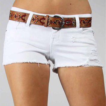 White Distressed Shorts With Belt