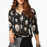 Skull Chiffon Blouse in  Clothes at Nasty Gal