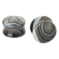 Liquid Glass Stone Black Grey Swirl Saddle Plugs 2 Pack
