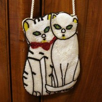 2 White cats all beaded evening bag cord strap vintage | TheLivesAndLovesOfMaggieTheCat - Accessories on ArtFire