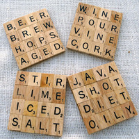 Two Scrabble Coasters Set  personalize it by MadeByMarcy on Etsy