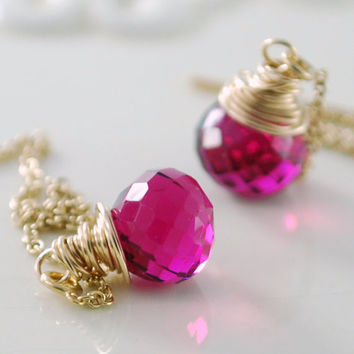 Hot Pink Earrings Quartz Gemstone Threaders AAA by livjewellery