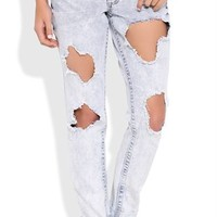 Super Light Almost Famous Rolled Skinny Jean with Heavy Destruction