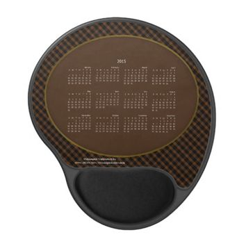 2015 Gel Mousepad Calendar Tartan BROWN and BLACK