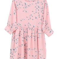 Button-Cuff Angel Dress in Floral Print - THE WHITEPEPPER