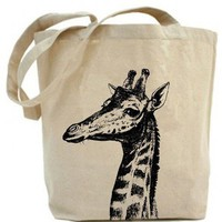 Recycled Tote Giraffe tote bag  Canvas tote bag by PaisleyMagic