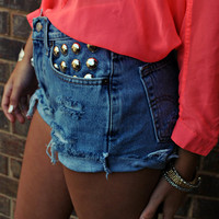 WILDHEARTS Vintage Levi&#x27;s STUDDED High Waisted by WildHeartsShorts