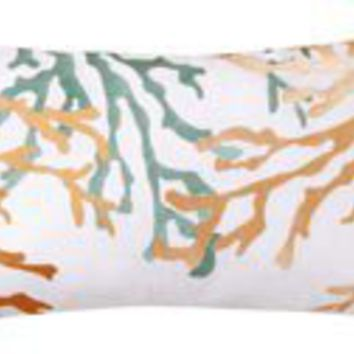 Coral Reef Embroidered Throw Pillow | OceanStyles.com