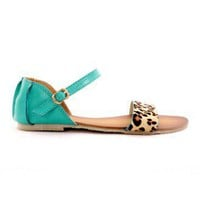 Leopard Strappy Falt Sandals in Turquoise - Goods - Retro, Indie and Unique Fashion