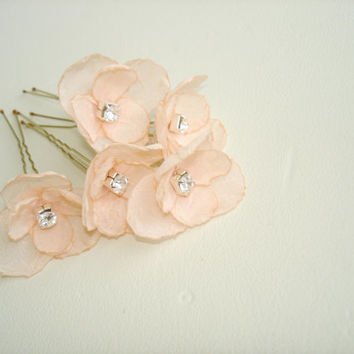 Peach Wedding Hair  Accessories Bridal Hair Pins Small Wedding Hair Flowers with Crystals - Set of 5