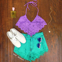 Dance Tonight Crop Top - Lilac
