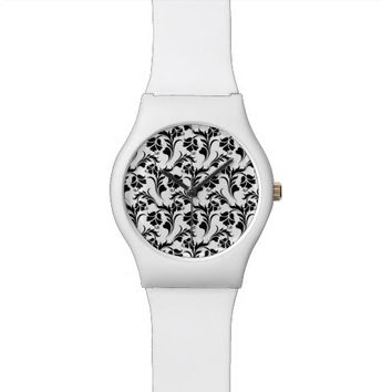 Black and white floral pattern watch