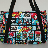 "Large Tote Bag / Grande Bag Made with Cotton Oxford Fabric ""Nostalgic Japanese Super Heroes - Kamen Rider / Kikaida / Robocon"" in Blue"