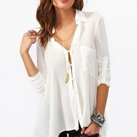 Draped Pocket Blouse - Ivory in Clothes Back In Stock at Nasty Gal