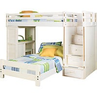 Creekside White Wash Twin Twin Step Bunk Bed w Desk