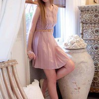 Purple Day Dress - Light Purple Pleated Dress with | UsTrendy