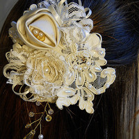 7 Piece Bridal Hair Pin Set handmade of vintage by PapernLace