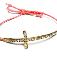 Coral Sideways cross Braided Friendship Bracelets by zurdokero