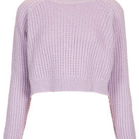 Fisherman Crop Sweater - Lilac