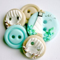 Seashore Handmade buttons Set of 5 by TessaAnn on Etsy