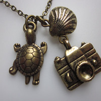 Turtle Seashell and Camera Necklace in Antique by lovespelljewels