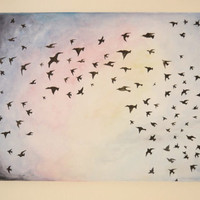 Flying Birds In A Sunset Silhouette by poptartsandjelly on Etsy