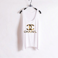 Leopard Chanel Women Tank Top White Sides by zzzAfternoon