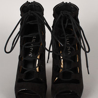 Liliana Trista-5 Suede Lace Up Stiletto Heel