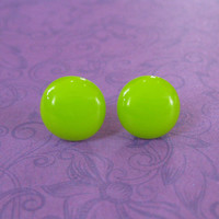 Handmade Lime Green Earrings, Light Green Studs, Pierced Post Earings, Hypoallergenic Studs, Fused Glass Jewelry - Helga - 2240 -4