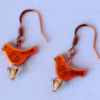 Copper Bird Dangle Earrings