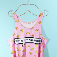 Pizza is My Valentine Crop Tank Top