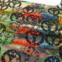 Cotton Fabric Tie-Dye background with Peace Sign print