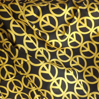Cotton Fabric Black with Gold Glitter Peace Signs by Patty Reed - 3-1/2 yards