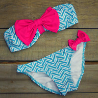Sailor's Girl Mint Chevron Pink Bow Bandeau Bikini
