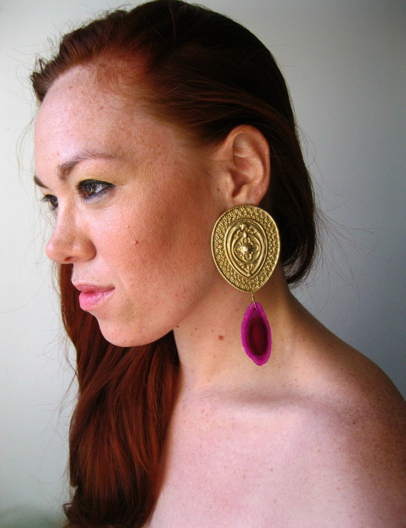 Hot Pink Agate Statement Earrings Femme Fatale by LarkinAndLarkin