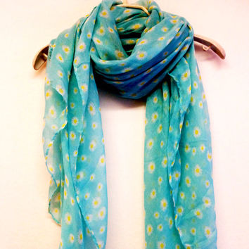 Light Blue Daisy Summer Scarf Spring Scarf