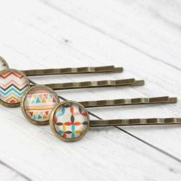Geometric Hair Pins,  Aztec Bobby Pins, Chevron Hair Accessories