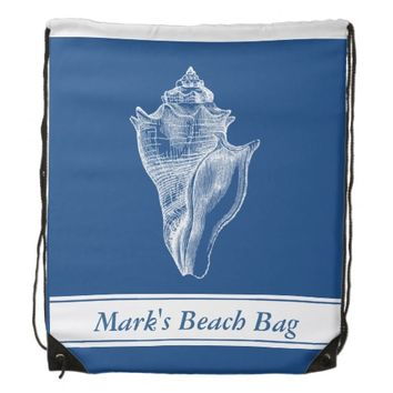 Shell Blue Personalized Beach Drawstring Backpack